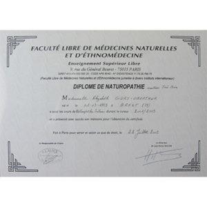 Diplome nathuropathe Elizabeth Gury Oberthur